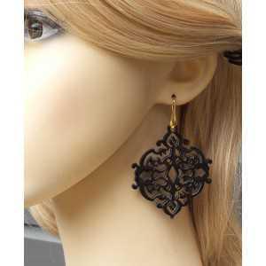 Gold plated earrings-carved black buffalo horn