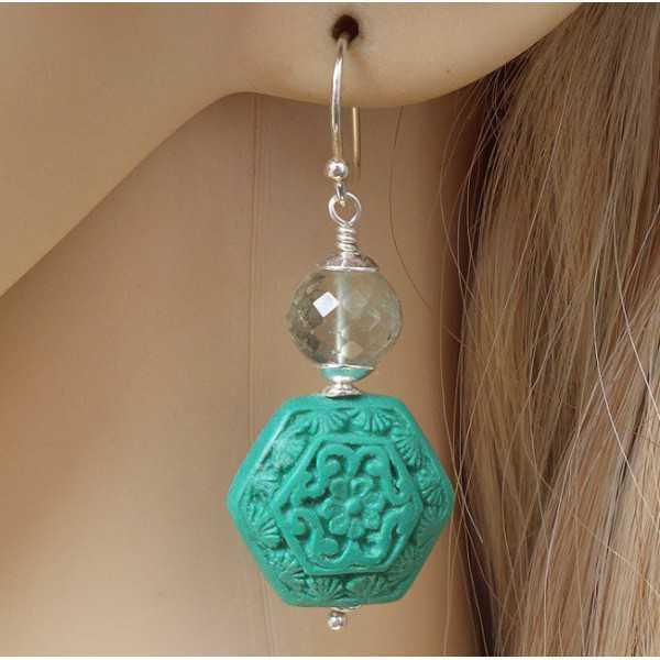 Silber Ohrringe mit ZINNOBER und grün Amethyst
