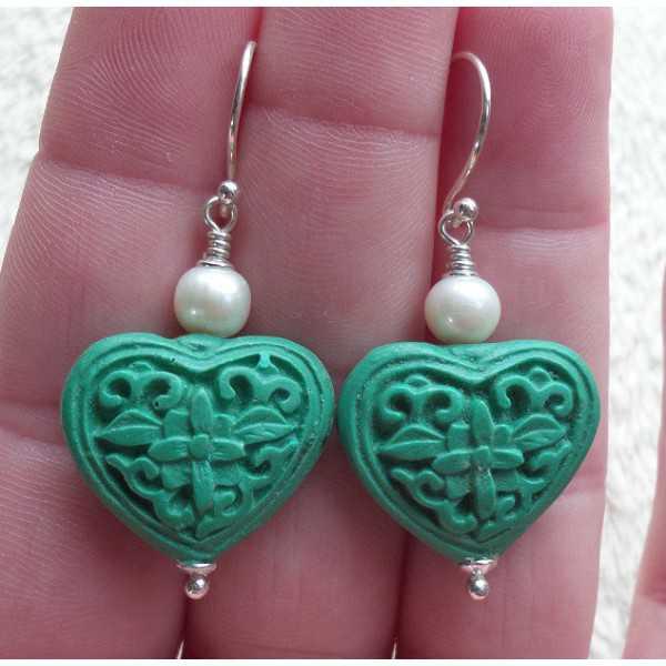 Silber Ohrringe mit Herz ZINNOBER und Süßwasser-Zuchtperlen