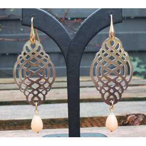 Vergoldete Ohrringe geschnitzt Büffelhorn und Jade