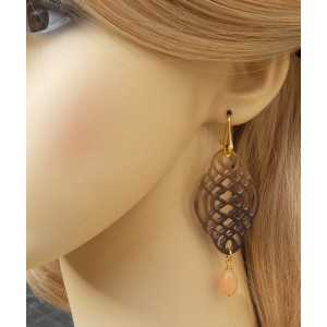 Gold plated earrings carved buffalo horn and Jade