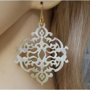 Vergoldete Ohrringe mit Büffelhorn