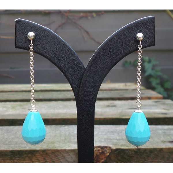 Silber lange Ohrringe mit Türkis briolet