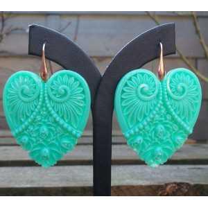 Ohrringe mit cut-out-Herz mint grün