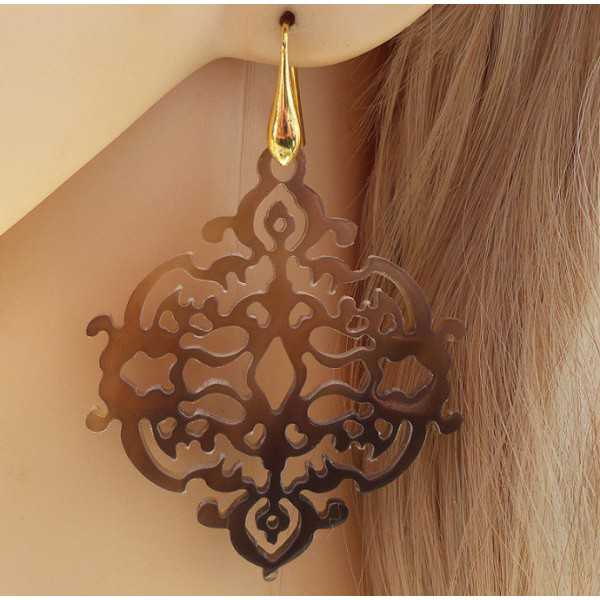 Gold plated earrings with cropped brown buffalo horn