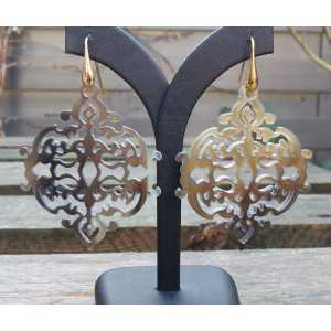 Vergoldete Ohrringe mit cropped Braun Büffel horn