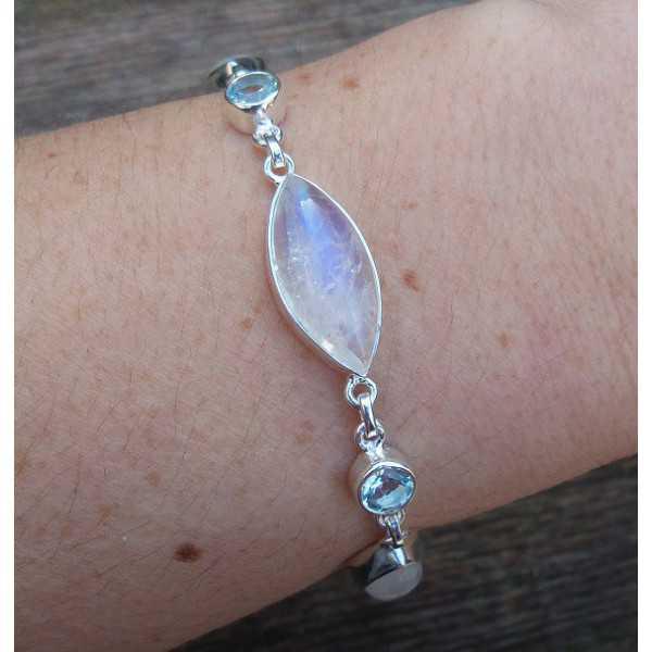 Zilveren armband gezet met marquise Maanstenen en blauw Topaas