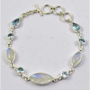 Silver bracelet set with marquise Moonstones and blue Topaz