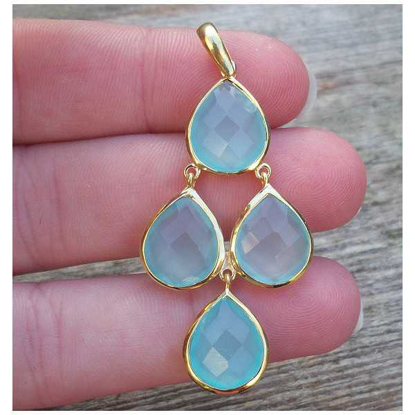 Gold-plated pendant set with aqua Chalcedony