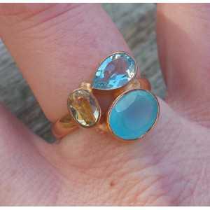 Vergoldet ring mit Chalcedon, blauer Topas und Citrin 18 mm