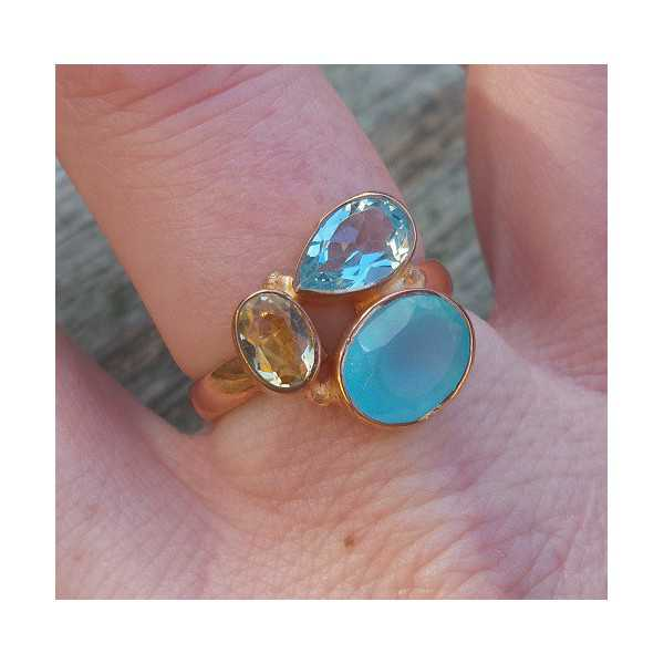 Gold plated ring with Chalcedony, blue Topaz and Citrine 18 mm