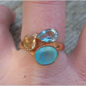 Vergulde ring met Chalcedoon, blauw Topaas en Citrien 18 mm