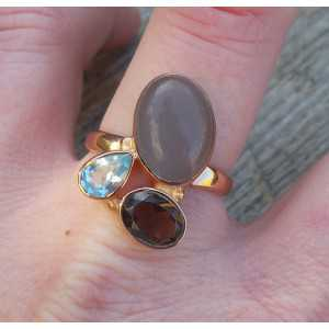 Vergoldet ring mit Chalcedon, Smokey und blue Topaz, 19 mm