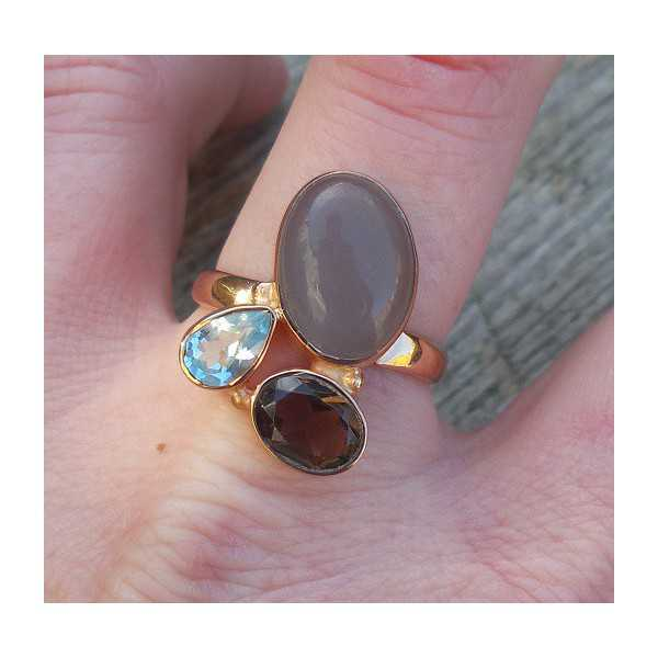 Gold plated ring with Chalcedony, Smokey and blue Topaz, 19 mm