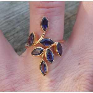 Gold-plated ring-set mit Ioliet Größe 17.3 mm
