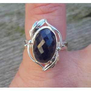 Silber ring mit ovaler Facette Saphir Größe 15,7 mm