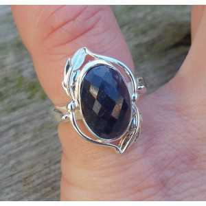 Silver ring with oval facet Sapphire size 15.7 mm