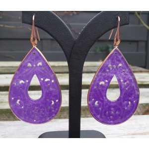 Vergulde oorbellen grote uitgesneden paarse Jade druppel