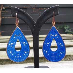 Rosé vergulde oorbellen grote uitgesneden blauwe Jade in omlijsting