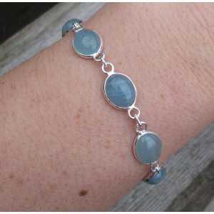 Zilveren armband met ovale cabochon Aquamarijn