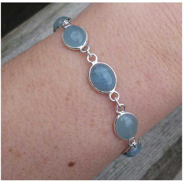 Silver bracelet with oval cabochon Aquamarine