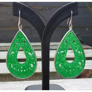 Zilveren oorbellen uitgesneden groene Jade druppel in omlijsting