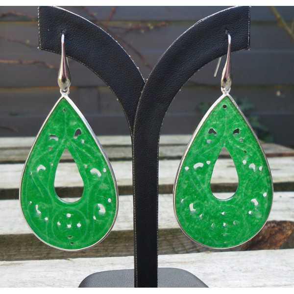 Silber Ohrringe-geschnitzt grüne Jade Tropfen in frame