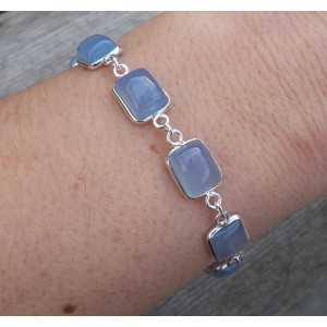 Zilveren armband met rechthoekige blauwe Chalcedoon schakels