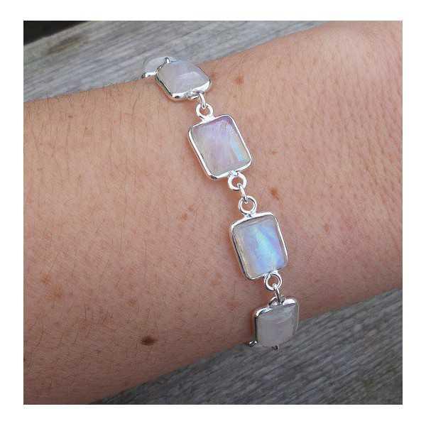 Zilveren armband met rechthoekige Maansteen schakels
