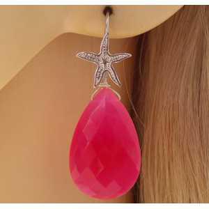 Zilveren oorbellen met fuchsia roze Chalcedoon briolet