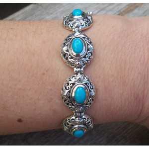 Zilveren armband gezet met Turkoois in bewerkte settingen