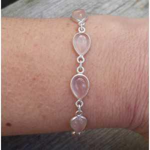 Zilveren armband met druppelvormige cabochon Rozenkwarts