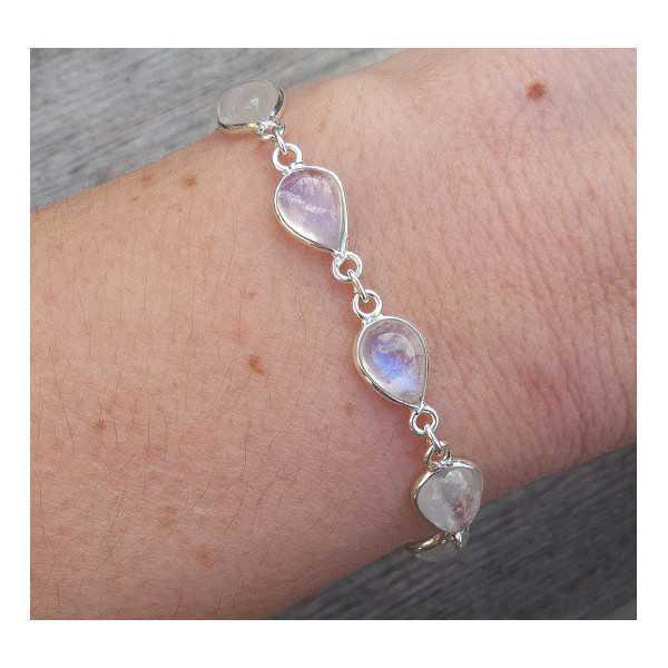 Zilveren armband met druppelvormige cabochon regenboog Maanstenen