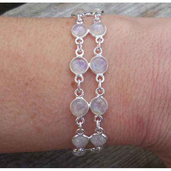 Zilveren armband twee rijen cabochon regenboog Maanstenen