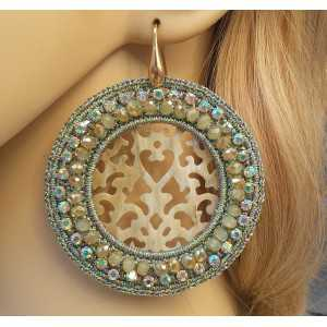 Vergulde oorbellen ronde hanger van zijdedraad, kristallen en Buffelhoorn