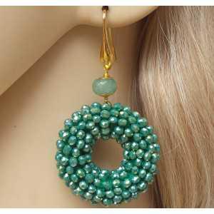 Vergulde oorbellen ring van metallic groene kristallen en Aventurijn