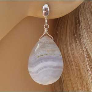 Zilveren oorbellen met blauwe Lace Agaat briolet