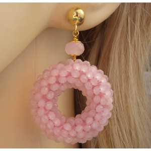 Vergulde oorbellen ring van roze kristallen en Rozenkwarts