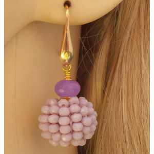 Vergulde oorbellen bol van lila/paars kristallen en Jade