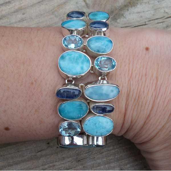 Zilveren armband gezet met Larimar, Kyaniet en Topaas