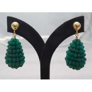 Vergulde oorbellen met druppel van groene Onyxen
