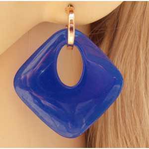 Rosé vergulde creolen met blauwe Jade hanger