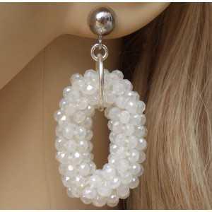 Zilveren oorbellen met kleine ovale hanger van witte Kristallen