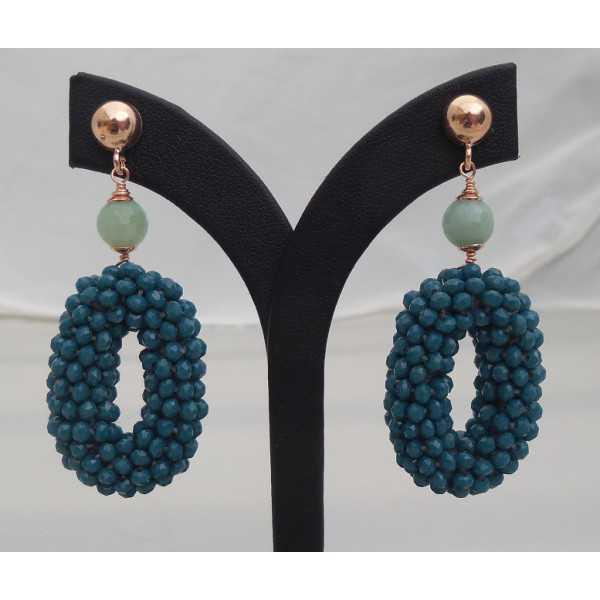 Rosé vergulde oorbellen ovale hanger met jeans blauwe Kristallen en Amazoniet
