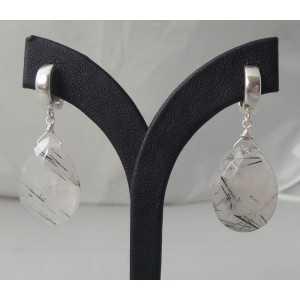 Zilveren creolen / oorbellen met grote Toermalijnkwarts briolet