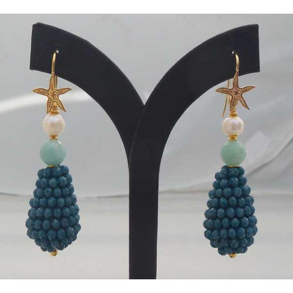 Vergulde oorbellen druppel van blauwe kristalllen, Amazoniet en Parel