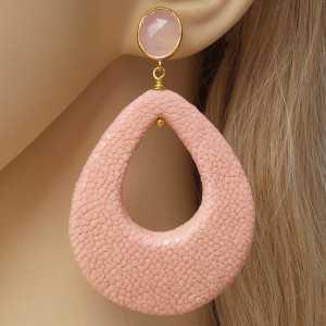 Vergulde oorbellen duppel van roze Roggenleer en roze Chalcedoon