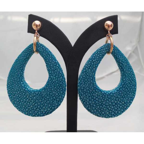 Rosé vergulde oorbellen met druppel van oceaan blauwe Roggenleer