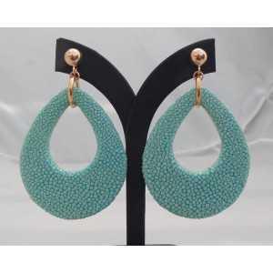 Rosé vergulde oorbellen met druppel van Turkoois blauwe Roggenleer
