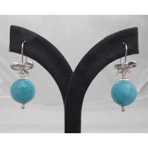 Zilveren oorbellen met ronde Aquamarijn